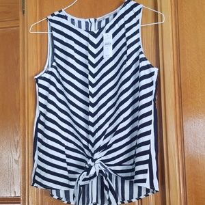 Loft navy/white striped front knot top